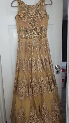 Bridal Indian Asian Pakistani Gold outfit Ball Gown - Aishwarya Design Studio