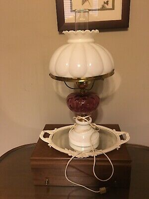 Vintage Fenton Ruby Red Pink Cranberry Coin Milk Glass Hurricane Lamp