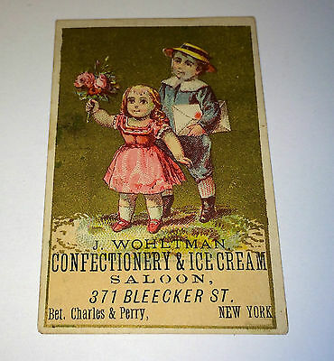 Antique Victorian Ice Cream Confectionery Saloon Advertising Mini NY Trade Card!