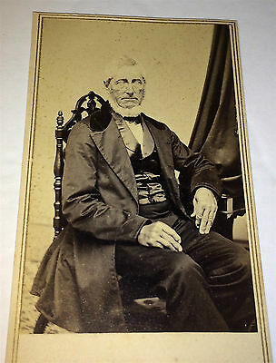 Antique Civil War Era American Dapper Old Man, (2) 1 Cent Stamps! CT CDV Photo!