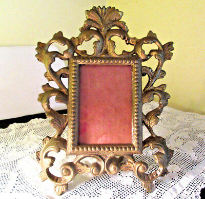 Vintage Gold Gilt metal Ornate Rococo Style Standing Picture Frame 7-1/2""