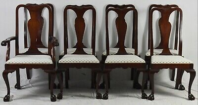 Set of 8 Mahogany Chippendale Style Dining Chairs Claw & Ball Williamsburg Style