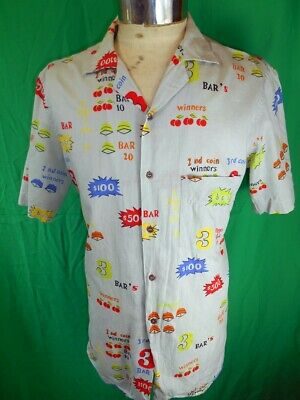 Vintage Green/Grey Short Sleeve Rayon Tomorrow of New York Gambling Vegas Shirt