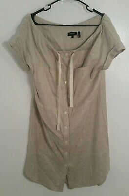 535ff6feabc Theory Shirt Dress Sz 2 Beige Short Slv Button Down Linen Blend Tie Neck EC  R9F2