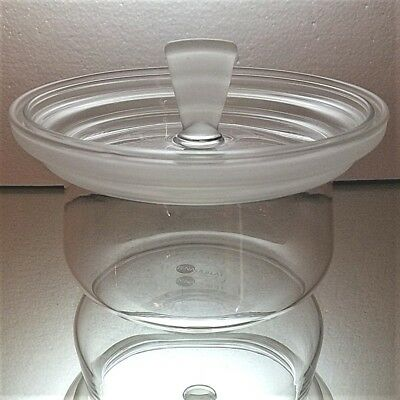 VINTAGE JENA GLAS Covered Dish With Frosted Rim and Decorative Lid-Signed