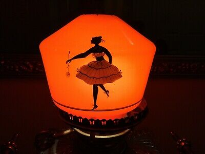 Art Deco, Red Glass, Lamp Globe / Hand Painted Silhouettes Shade - RARE 5'X 5.5'