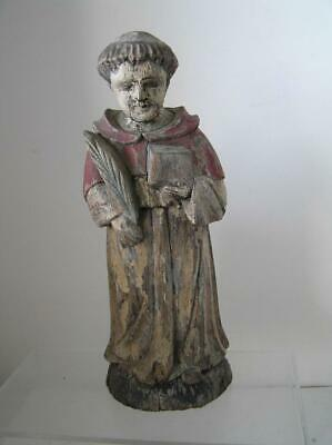 """Antique hand carved Wood Religious Statue of Saint Francis 13"""" Authentic"""