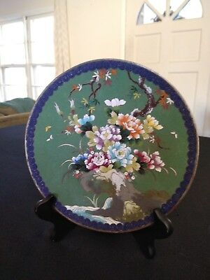 Antique Japanese Cloisonne Plate w/ Flowering Tree at Streams Edge & Butterflies
