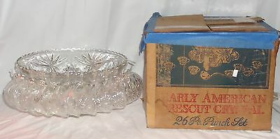 Anchor Hocking EAPC *EARLY AMERICAN PRESCUT CRYSTAL *26 Pc* PUNCH BOWL SET* BOX