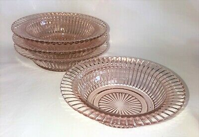 """4 Anchor Hocking QUEEN MARY PINK *6"""" FLAT RIMMED CEREAL BOWLS*"""