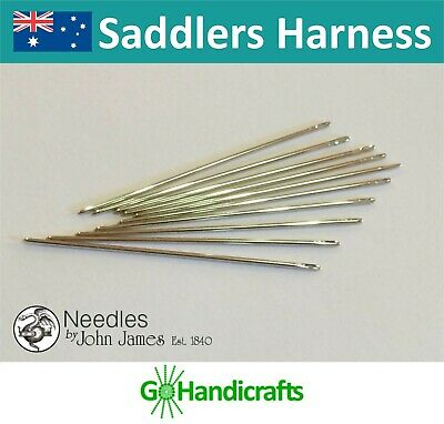 John James Leather Hand Sewing Needles Saddlers Harness Round-Pointed Durable