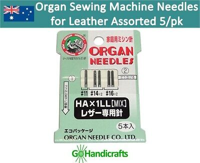 5 Assorted Organ Domestic Sewing Machine Needles for Leather Suede Vinyl