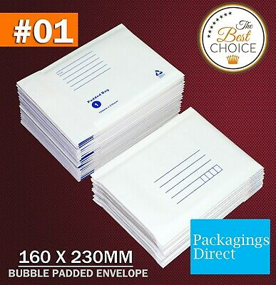 200x  Padded Bag #01 Bubble Envelope 160x230mm SIZE 01 - White Printed