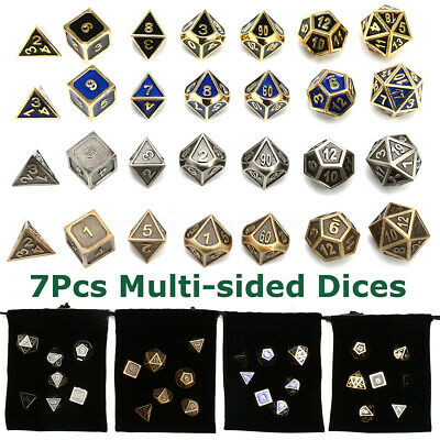 Set of 7 Polyhedral Multi-sided Zinc Dice D4-D20 for Dungeons Dragons Game +