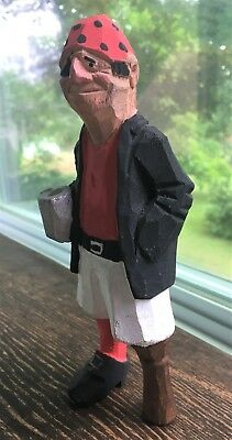 "Hand Carved Wood 7,1/2"" Old Peg Leg Pirate Drinking A Mug Of Beer Carving Statue"