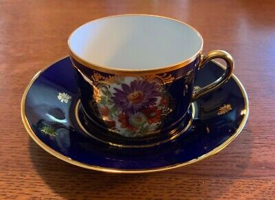 Impiria Limoges France Cobalt Blue Gold Porcelain Cup & Sauce with floral cameo