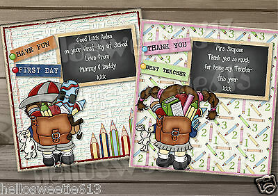 I GOOD LUCK ON FIRST DAY AT SCHOOL CARD 1 PERSONALISED 3D THANK YOU TEACHER