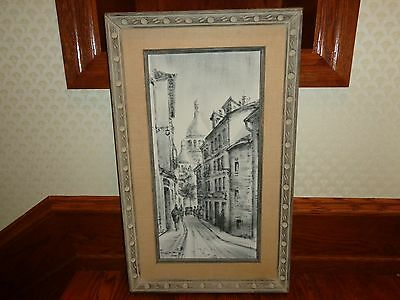 Vintage Original Impressionist Oil Painting of a Townscape, Signed