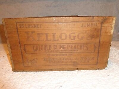 Vintage Wooden Kellogg's CalGold Cling Peaches Advertising Shipping Crate