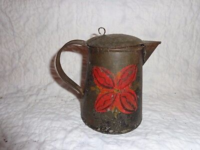 Antique Tin Toleware Creamer Pitcher with Hinged Lid, Scarce Small Size