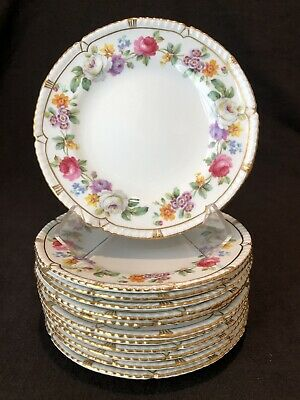 """Royal Crown Derby Melody Gadoon Scalloped Bread Plates 6 1/4"""" Set 12 Rose Gold"""