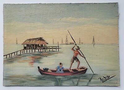 Old Small Vintage TROPICAL OIL PAINTING Figures in Boat on Ocean Gulf signed