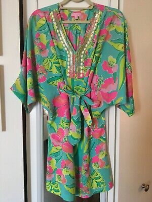 3d1c1713a7a5b8 Lilly Pulitzer WILDA Crystal Water Island Cocktail Beaded Caftan Dress S
