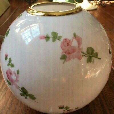 Vintage Pink Roses Painted Globe Glass Shade for GWTW Banquet Parlor Lamp
