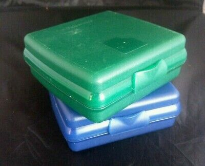 2 TUPPERWARE Sandwich Keeper Hinged Storage Containers Blue Green Sheer #3752
