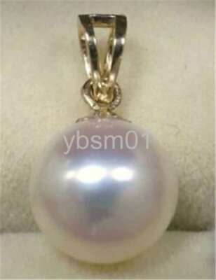 13-12 mm HUGE AAA White natural 14k gold pearl south sea pendant