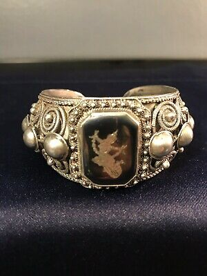 "Vintage~Antique Siam Wide Cuff Sterling Silver Bracelet 1 1/4"" Tall"