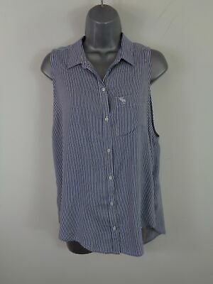 719c893e Womens Abercrombie & Fitch Navy/white Striped Button Up Sleeveless Shirt S  Small