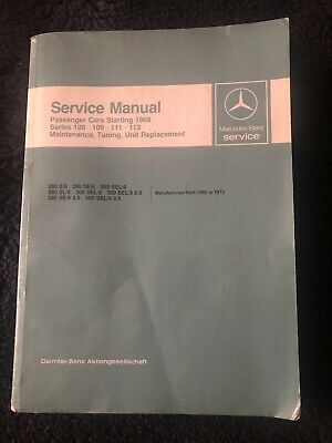 Mercedes-Benz 280 300 SE SL 108 109 111 113 Pagoda 1966-73 Workshop Manual OEM