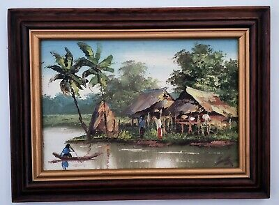 Small Tropical Oil Painting Beautiful Landscape Vietnam Asian Palette Knife Boat