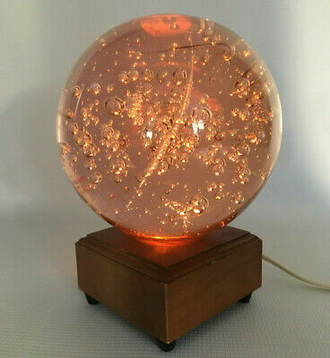 Murano Style Glass Bubble Sphere on Lighted Wood Base - Amber Pink Night Light