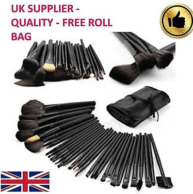 Make up brushes set 32 kabuki black Cosmetic Professional ⭐Free Roll Case⭐UK⭐