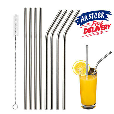 8x Straw Brushes Reusable Straws Metal Washable Bent Stainless Steel Drinking