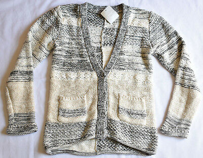 Next Girl's 7-8 Yrs Chunky Thick Sparkle Sequins Oat Mill Cardigan Bnwt