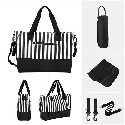 5PCS Baby Changing Bags Large Nappy Bag Mummy Diaper Tote Black & White