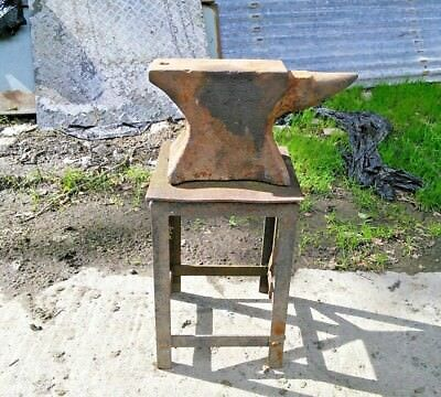 Vintage small blacksmiths anvil approximately 70kg with table stand