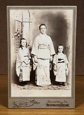 Mother and Daughters Pose in KIMONOS Antique Cabinet Card Photograph Reading PA