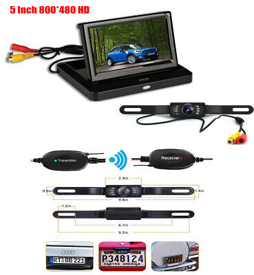 Wireless 5'' Foldable Car Rear View Monitor Screen+Backup License Plate Camera