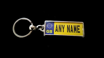 GB Personalised Registration Plate Metal Keyring - Number Plate - DOUBLE SIDED