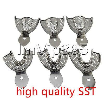 Upper/Lower STAINLESS STEEL Dental Autoclavable Metal Impression Trays S/M/L VIP