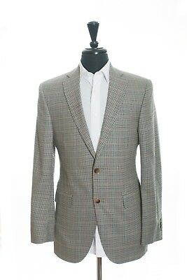 Jack Victor Exclusive Collection Brown Check Silk Blend Namath Blazer 36R 8882
