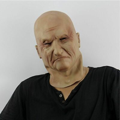 Realistic Old Man Mask Latex Male Human Face Disguise Halloween Costume Adults