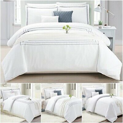 Hotel Bedding Duvet Cover Set With Pillow Case Quilt Bedding White Double King