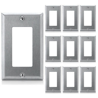 10x Stainless Steel GFCI Rocker Switch Outlet Cover Decorator Metal Wall Plates