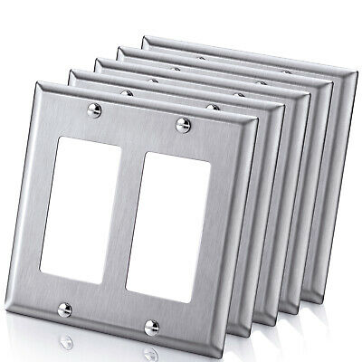 5 Pack BESTTEN 2 Gang Decor Metal Wall Plate, Stainless Steel Outlet Cover - UL
