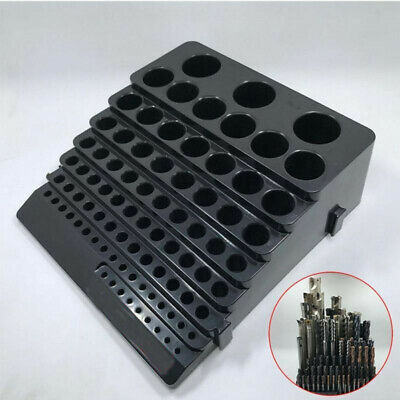 85 Pcs Holes Drill Bit Storage Case Stand Rectangle Shape Hard Plastic Organize